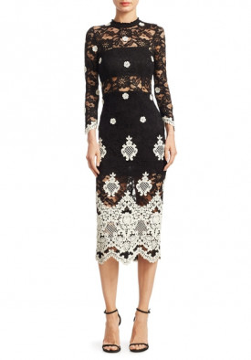 Alexis Helina Mockneck Lace Midi Dress