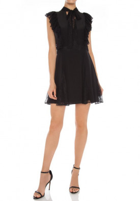 Alexis Joaquin Neck-Tie Ruffle Lace-Detail Mini Dress