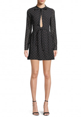 Alexis Leila Polka Dot Rio Print Tie Neck Mini Dress