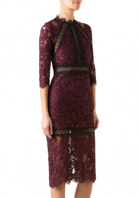 Alexis Marisa Half-Sleeve Lace Midi Dress