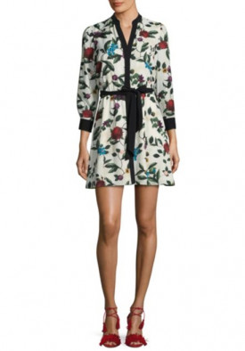 Alice + Olivia Brooklynn Belted Floral Dress