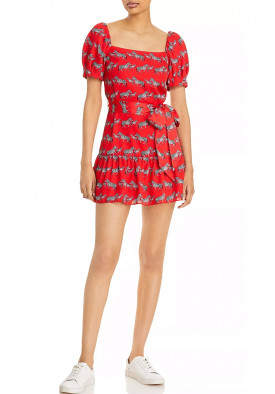 Alice + Olivia Collette Zebra-Print Square-Neck Puff-Sleeve Dress