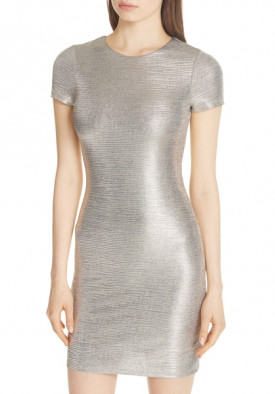 Alice + Olivia Delora Metallic Sheath Dress