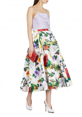 Alice + Olivia Earla High-Waist Flare Lace Midi Skirt