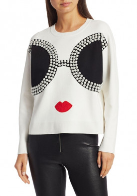 Alice + Olivia Gleeson Embellished Staceface Sweater