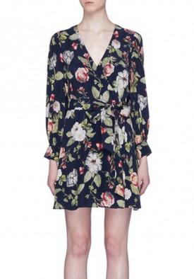Alice + Olivia Hannah Long-Sleeve Floral Wrap Dress