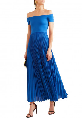 Alice + Olivia Ilaria Off-the-Shoulder Jersey & Plissé Chiffon Dress