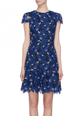 Alice + Olivia Imani Cap-Sleeve Lace Fit & Flare Dress