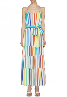 Alice + Olivia Janan Tiered Rainbow-Stripe Maxi Dress