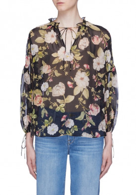 Alice + Olivia Julius Floral Blouson Sleeve Silk Top