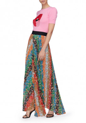 Alice + Olivia Katz Patchwork Floral Chevron Pleated Maxi Skirt