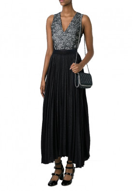 Alice + Olivia Katz Pleated Asymmetric Maxi Skirt