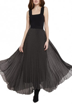 Alice + Olivia Katz Polka Dot Pleated Maxi Skirt