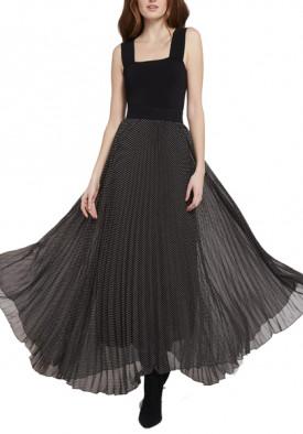 Alice + Olivia Katz Polka Dot Pleated Maxi Skirt