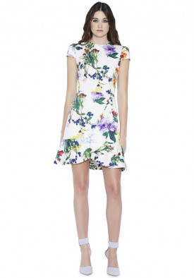Alice + Olivia Kirby Cap Sleeve Floral Ruffle Dress