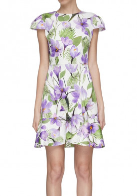 Alice + Olivia Kirby Faux-Wrap Floral Flounce Dress