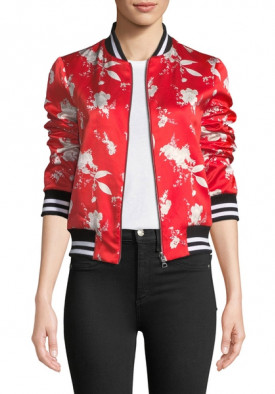 Alice + Olivia Lonnie Reversible Floral Print Bomber Jacket