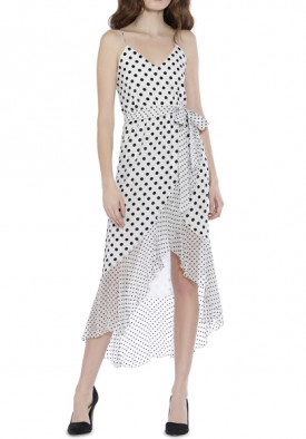 Alice + Olivia Mable Polka Dot Faux-Wrap Dress