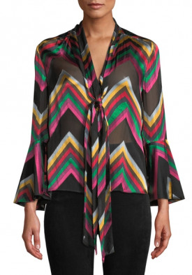 Alice + Olivia Merideth Flared Cuff Chevron Pussybow Blouse