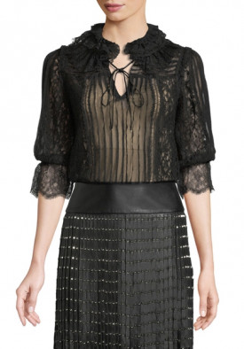 Alice + Olivia Pauletta Pleated Lace Tie-Neck Blouse