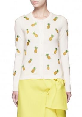 Alice + Olivia Pineapple Embroidery Cardigan