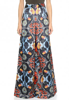 Alice + Olivia Printed Duchesse Satin Wide-Leg Pants