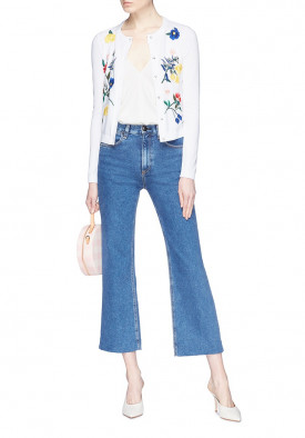 Alice + Olivia Ruthy Floral Embroidered Cardigan