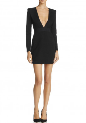 Alice + Olivia Simone Deep V Strong Shoulder Dress