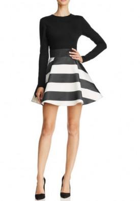 Alice + Olivia Stripe-Skirt Fit & Flare Mini Dress