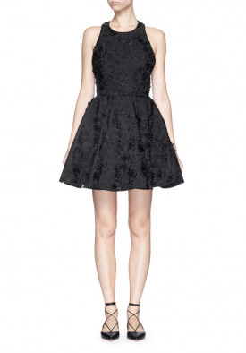 Alice + Olivia Tevin Floral Appliqué Dress