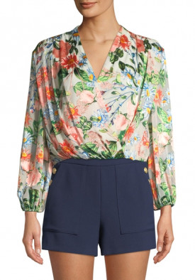 Alice + Olivia Trista Cross Front Blouson Top