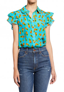 Alice + Olivia Ziggy Pineapple-Print Ruffle Cap-Sleeve Button-Down