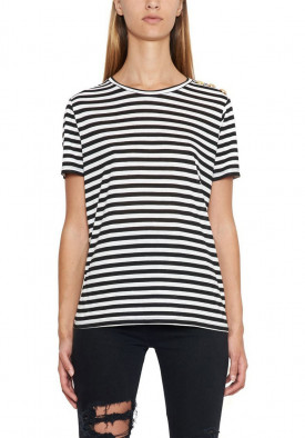 Balmain Button-Embellished Stripe Jersey T-shirt