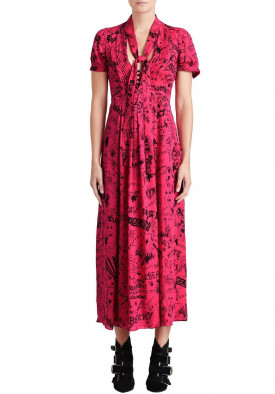 Burberry Antonina Doodle Print Silk Tie-Neck Dress