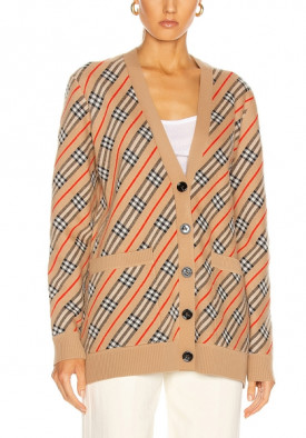 Burberry Coralie Checked Intarsia Cardigan