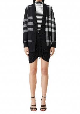 Burberry Deer Motif Check Wool Blend Jacquard Cardigan
