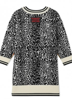 Burberry Kids Check & Leopard Merino Wool Sweater Dress