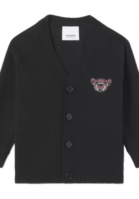 Burberry Kids Thomas Bear Motif Wool Blend Cardigan