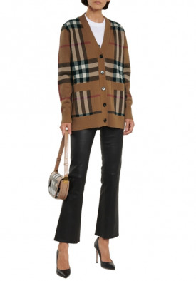Burberry Check Cashmere & Wool Cardigan