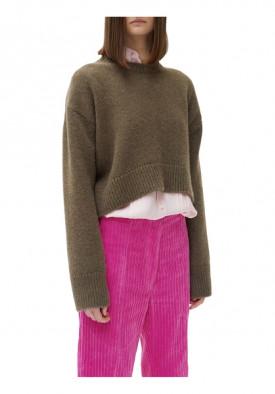 Céline Asymmetric Cropped Crewneck Cashmere Sweater