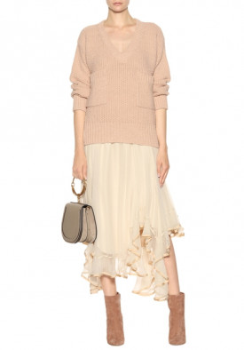 Chloé Chunky Knit V-Neck Patch Pocket Oversize Sweater