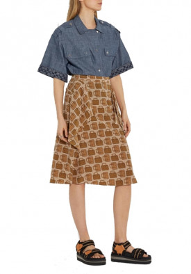 Coach Bag Print Draped Silk Midi Skirt