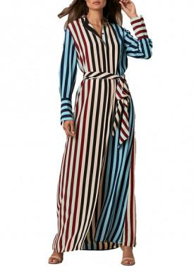 Diane von Furstenberg Carrington Stripe Pacific Long-Sleeve Floor-Length Shirtdress