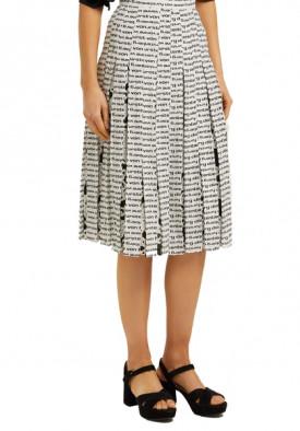 Diane von Furstenberg Gardena Logo Pleated Silk Skirt