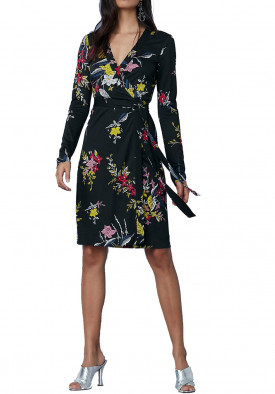Diane von Furstenberg Julian Banded Long-Sleeve Wrap Dress