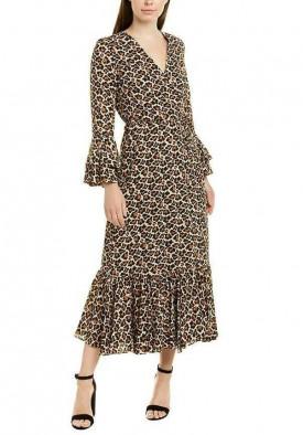 Diane von Furstenberg Madeline Leopard Wrap Ruffled Midi Dress