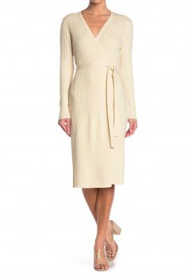 Diane von Furstenberg Marie Ribbed Knit Wrap Midi Dress