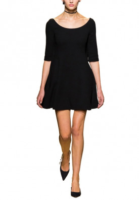 Dior Deep Scoop Neck Fit & Flare Mini Dress