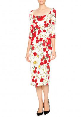 Dolce & Gabbana Open-Neck Poppy & Daisy Cady Sheath Dress