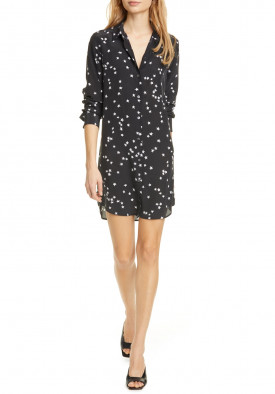 Equipment Long-Sleeve Star Print Silk Shirtdress